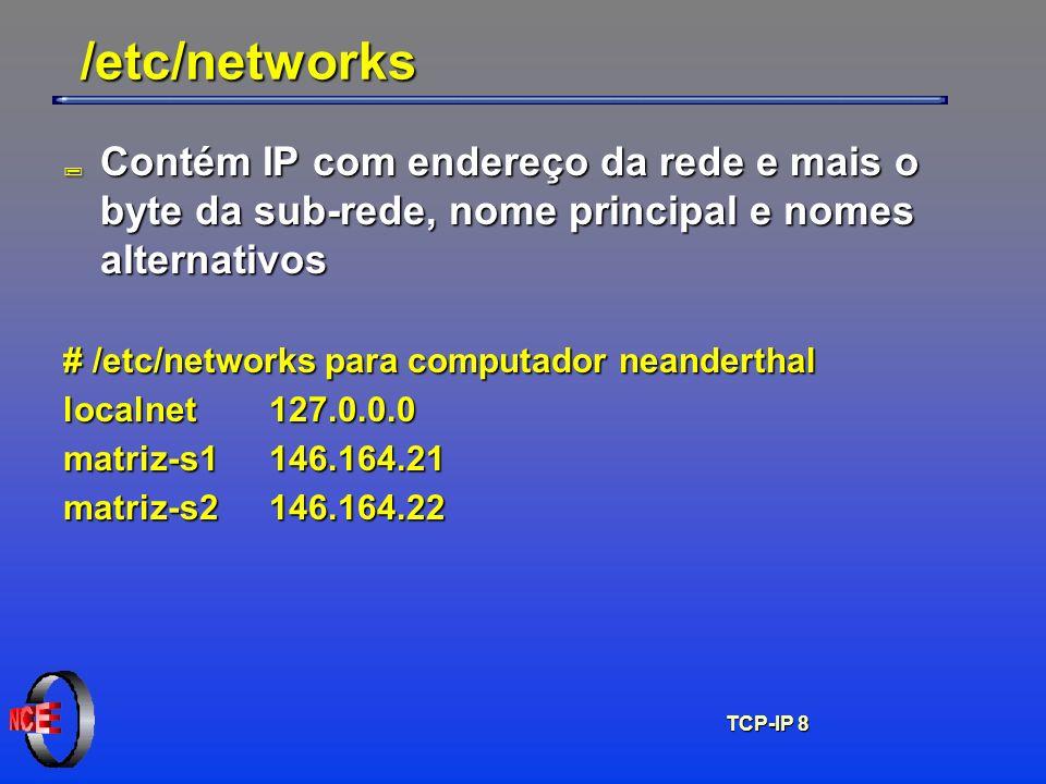 TCP-IP 8 /etc/networks ; Contém IP com endereço da rede e mais o byte da sub-rede, nome principal e nomes alternativos # /etc/networks para computador