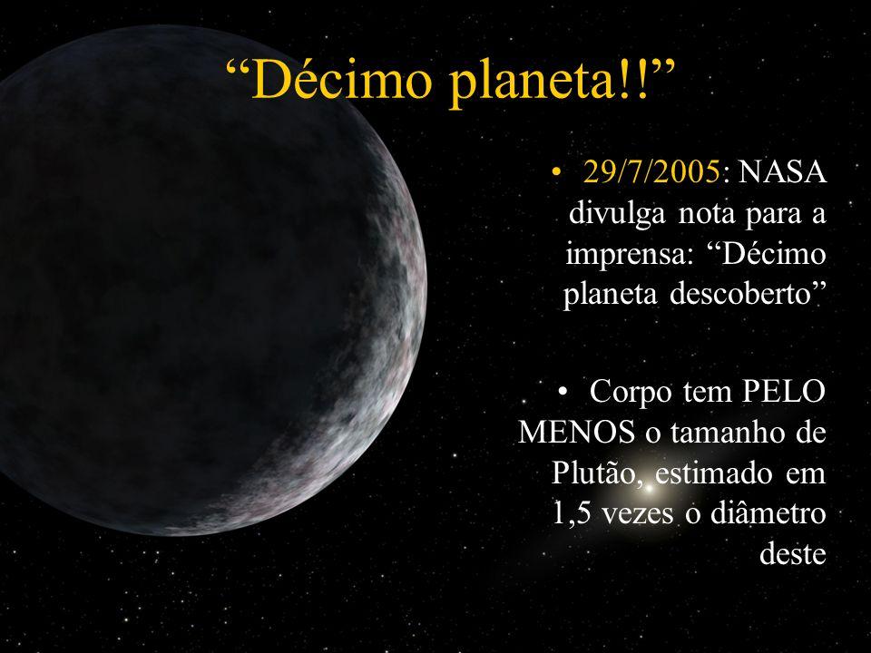 29/7/2005: NASA divulga nota para a imprensa: Décimo planeta descoberto Corpo tem PELO MENOS o tamanho de Plutão, estimado em 1,5 vezes o diâmetro des