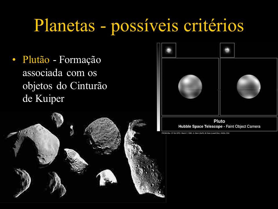 Plutão - Formação associada com os objetos do Cinturão de Kuiper Planetas - possíveis critérios