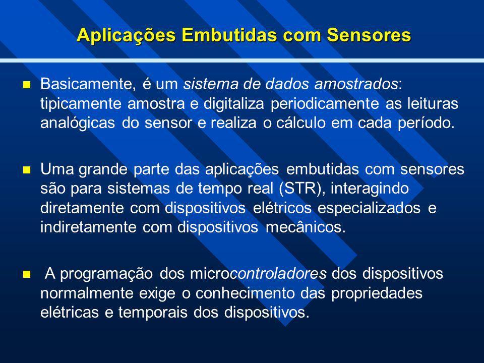 Aplicações Embutidas com Sensores Basicamente, é um sistema de dados amostrados: tipicamente amostra e digitaliza periodicamente as leituras analógica