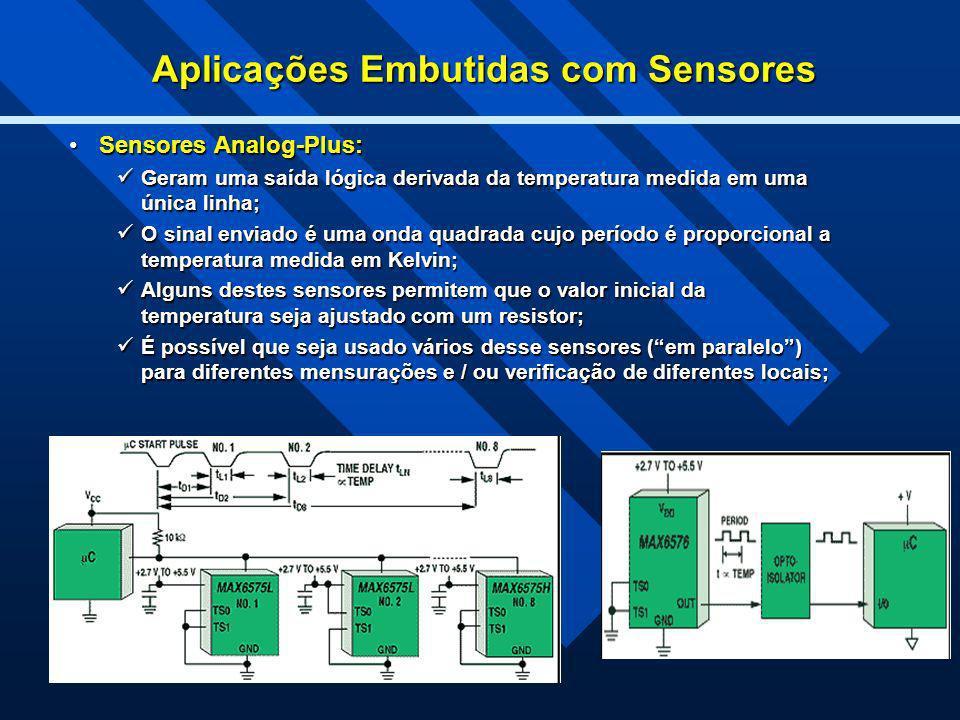 Aplicações Embutidas com Sensores Sensores Analog-Plus:Sensores Analog-Plus: Geram uma saída lógica derivada da temperatura medida em uma única linha;