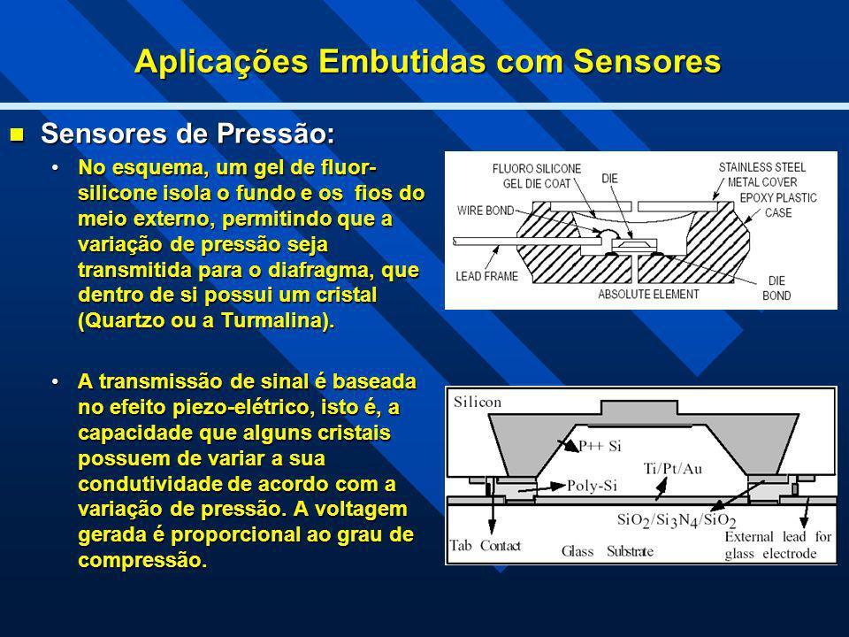 Aplicações Embutidas com Sensores Sensores de Pressão: Sensores de Pressão: No esquema, um gel de fluor- silicone isola o fundo e os fios do meio exte