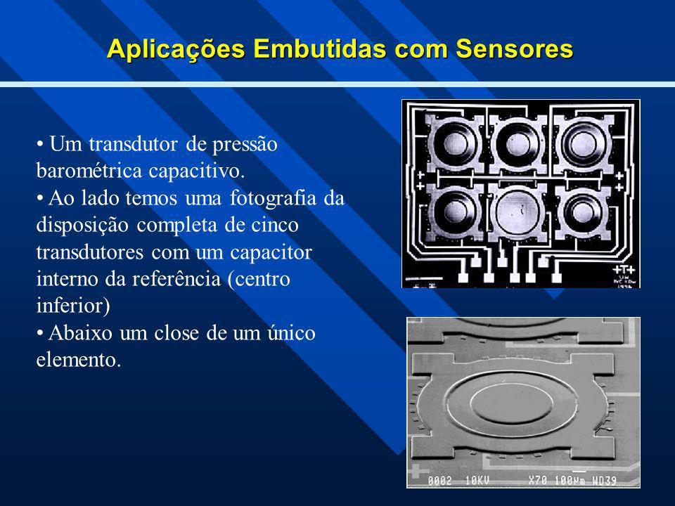Aplicações Embutidas com Sensores Um transdutor de pressão barométrica capacitivo. Ao lado temos uma fotografia da disposição completa de cinco transd