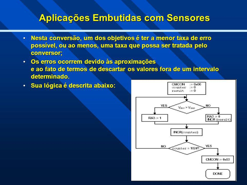 Aplicações Embutidas com Sensores Nesta conversão, um dos objetivos é ter a menor taxa de erro possível, ou ao menos, uma taxa que possa ser tratada p