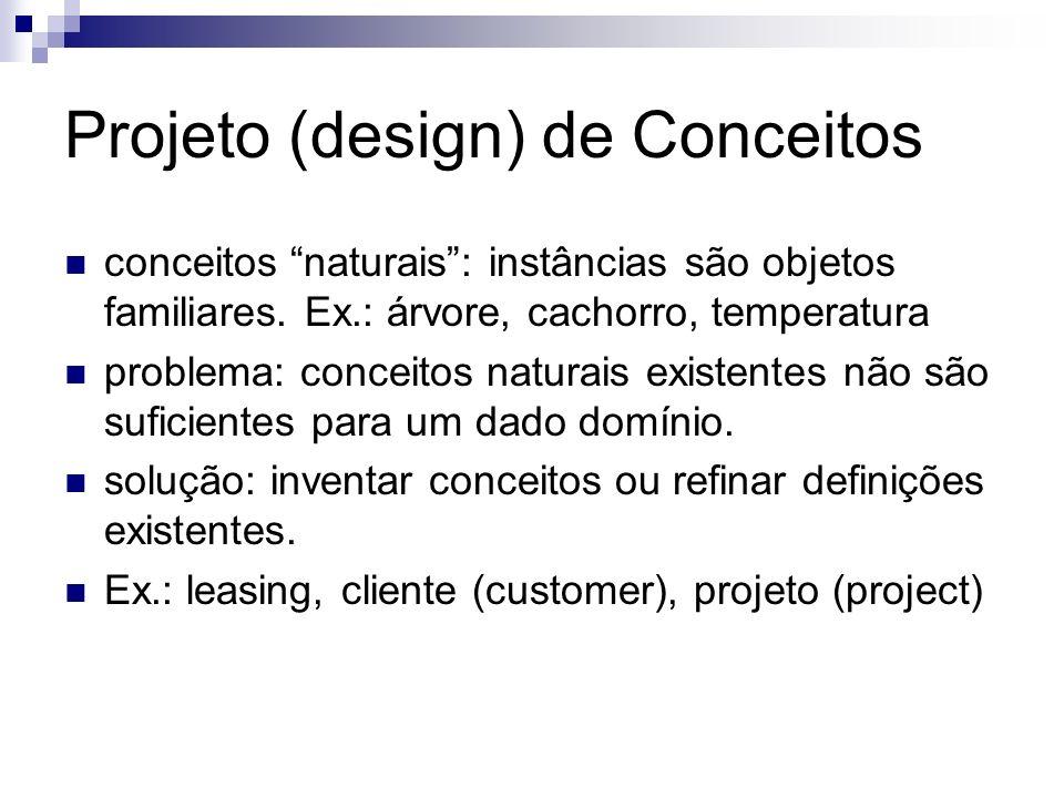 Projeto (design) de Conceitos conceitos naturais: instâncias são objetos familiares. Ex.: árvore, cachorro, temperatura problema: conceitos naturais e