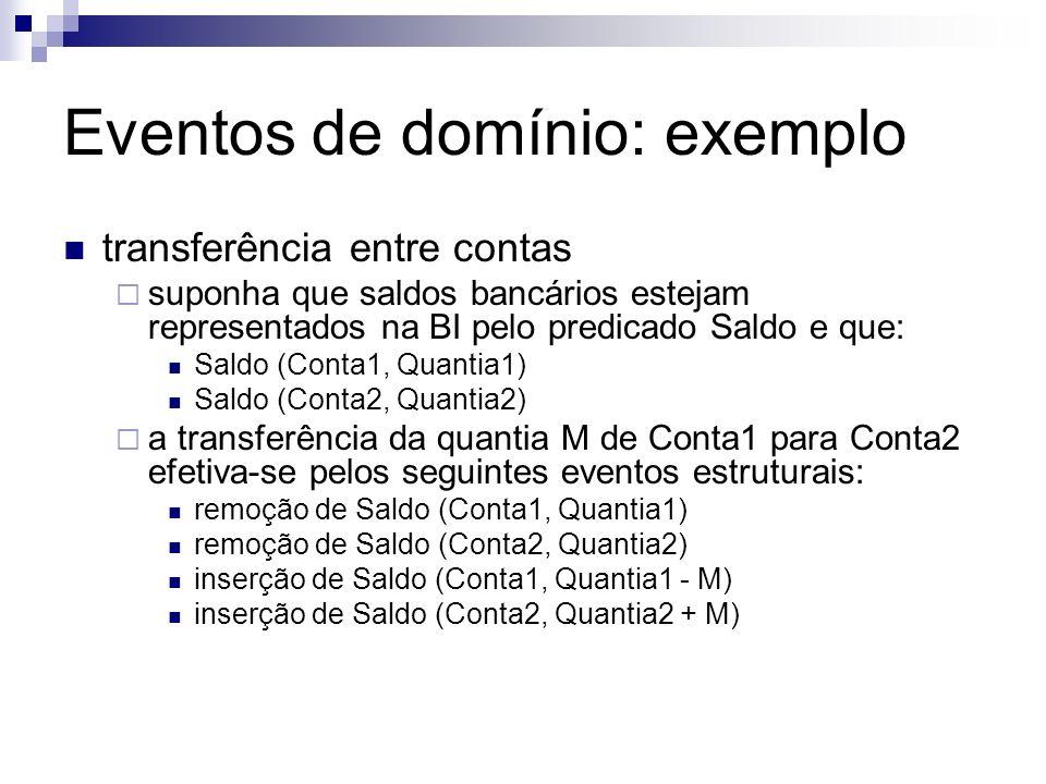 Eventos de domínio: exemplo transferência entre contas suponha que saldos bancários estejam representados na BI pelo predicado Saldo e que: Saldo (Con