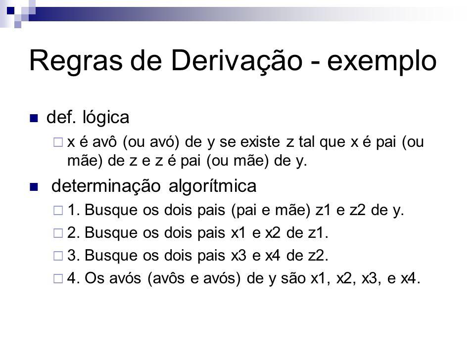 Regras de Derivação - exemplo def. lógica x é avô (ou avó) de y se existe z tal que x é pai (ou mãe) de z e z é pai (ou mãe) de y. determinação algorí