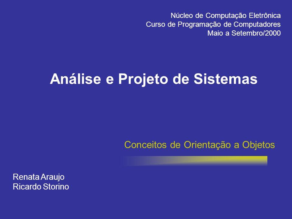Conceitos de Orientação a Objetos Renata Araujo Ricardo Storino Núcleo de Computação Eletrônica Curso de Programação de Computadores Maio a Setembro/2