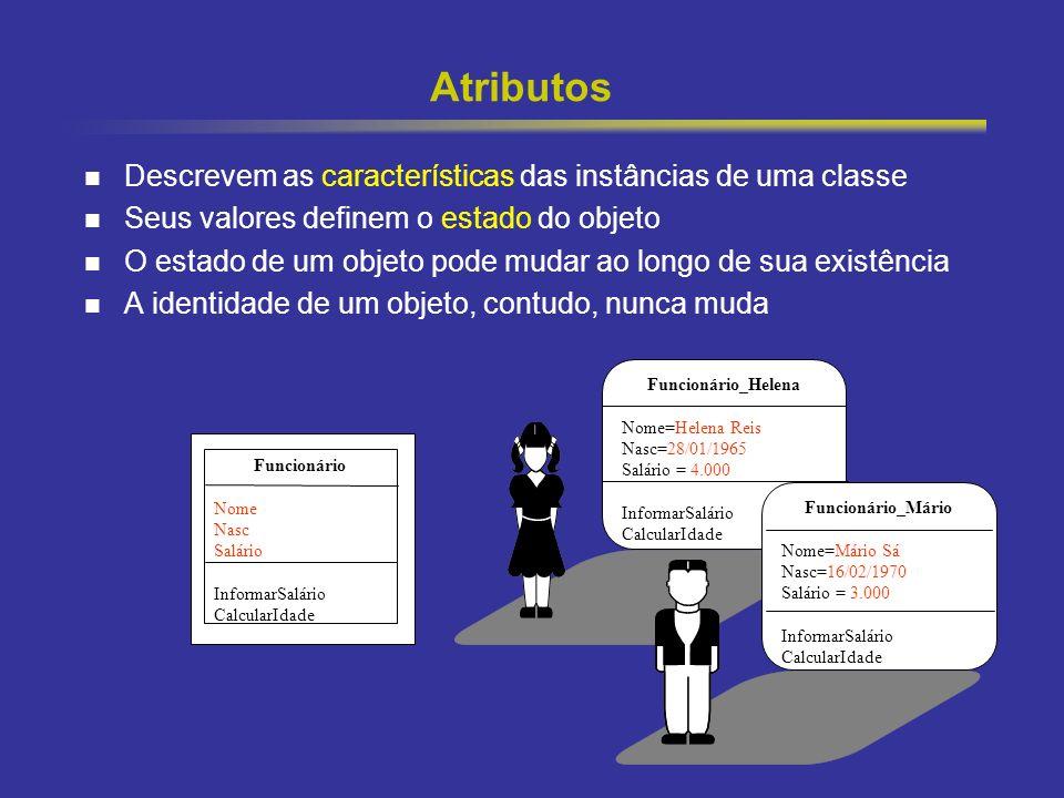 12 Atributos Descrevem as características das instâncias de uma classe Seus valores definem o estado do objeto O estado de um objeto pode mudar ao lon