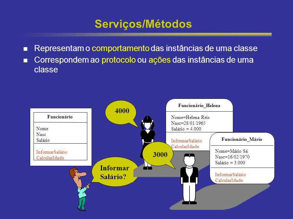 13 Serviços/Métodos Representam o comportamento das instâncias de uma classe Correspondem ao protocolo ou ações das instâncias de uma classe Funcionár