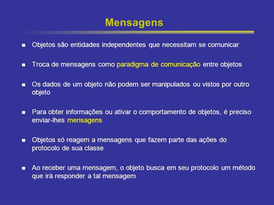 15 Mensagens Objetos são entidades independentes que necessitam se comunicar Troca de mensagens como paradigma de comunicação entre objetos Os dados d