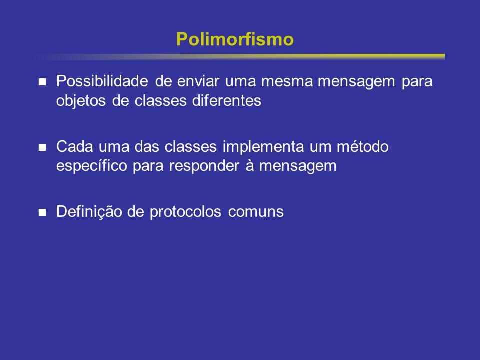 17 Polimorfismo Possibilidade de enviar uma mesma mensagem para objetos de classes diferentes Cada uma das classes implementa um método específico par