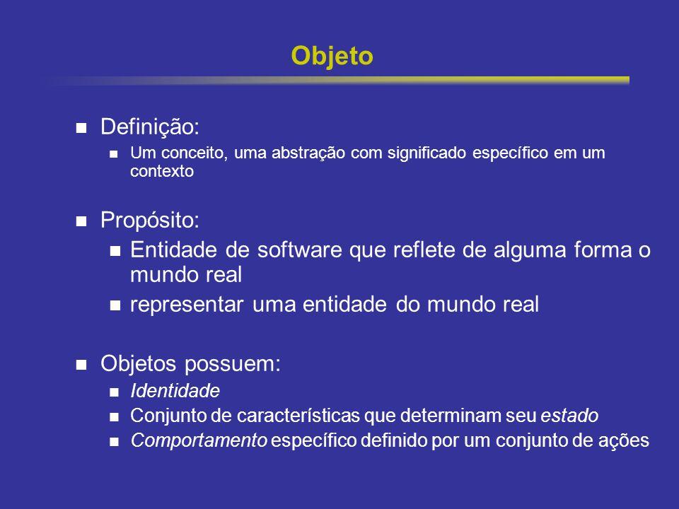 2 Objeto Definição: Um conceito, uma abstração com significado específico em um contexto Propósito: Entidade de software que reflete de alguma forma o