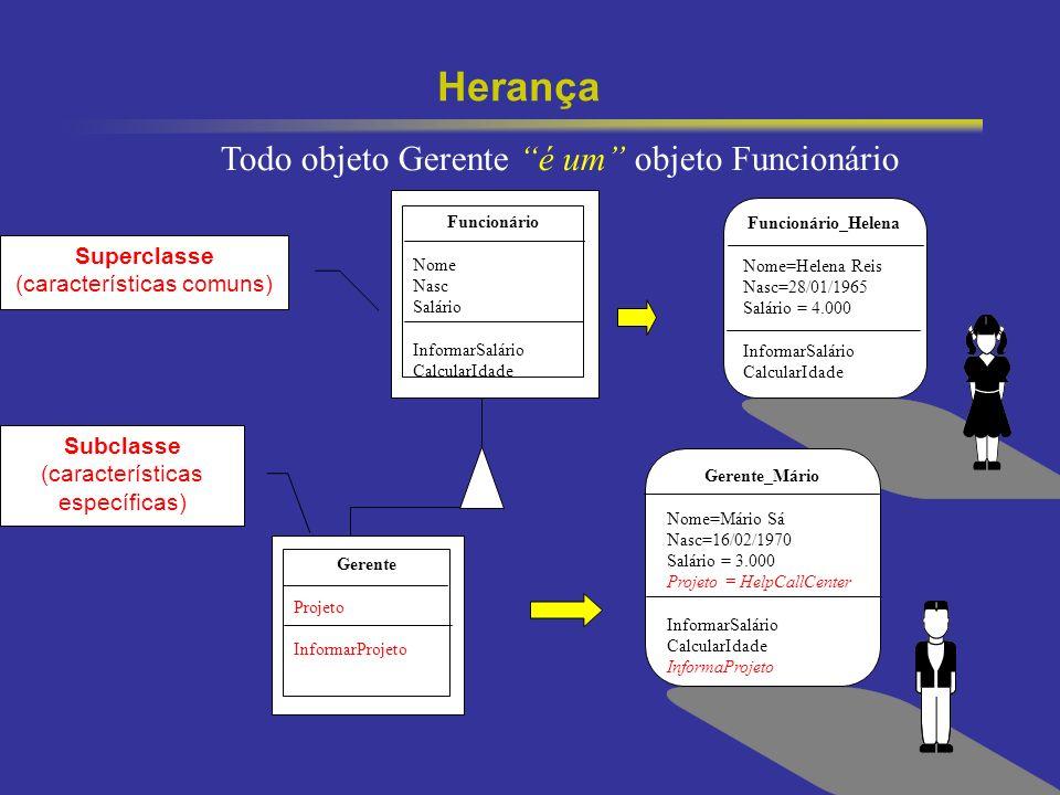 22 Herança Subclasse (características específicas) Superclasse (características comuns) Funcionário_Helena Nome=Helena Reis Nasc=28/01/1965 Salário =