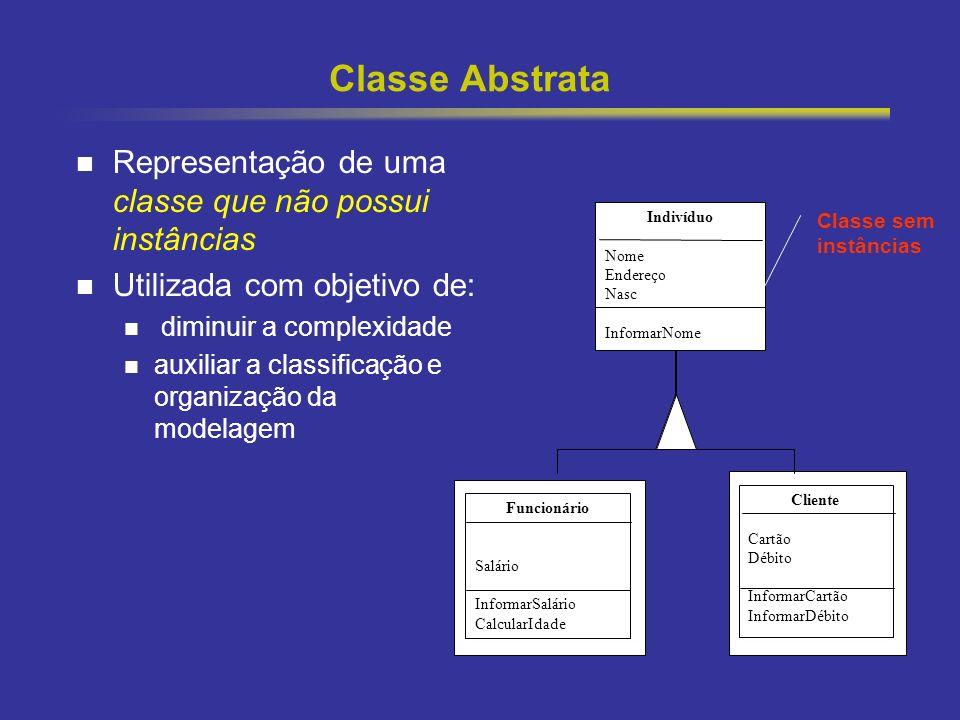 27 Classe Abstrata Representação de uma classe que não possui instâncias Utilizada com objetivo de: diminuir a complexidade auxiliar a classificação e
