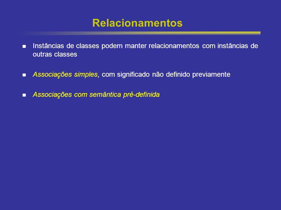 28 Relacionamentos Instâncias de classes podem manter relacionamentos com instâncias de outras classes Associações simples, com significado não defini