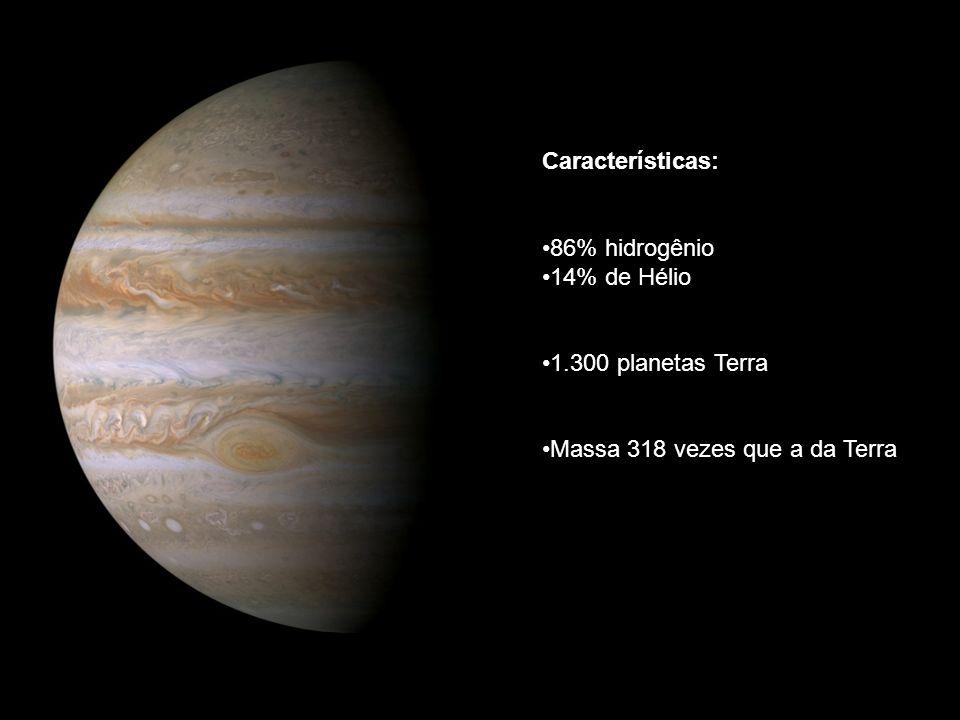 Características: 86% hidrogênio 14% de Hélio 1.300 planetas Terra Massa 318 vezes que a da Terra
