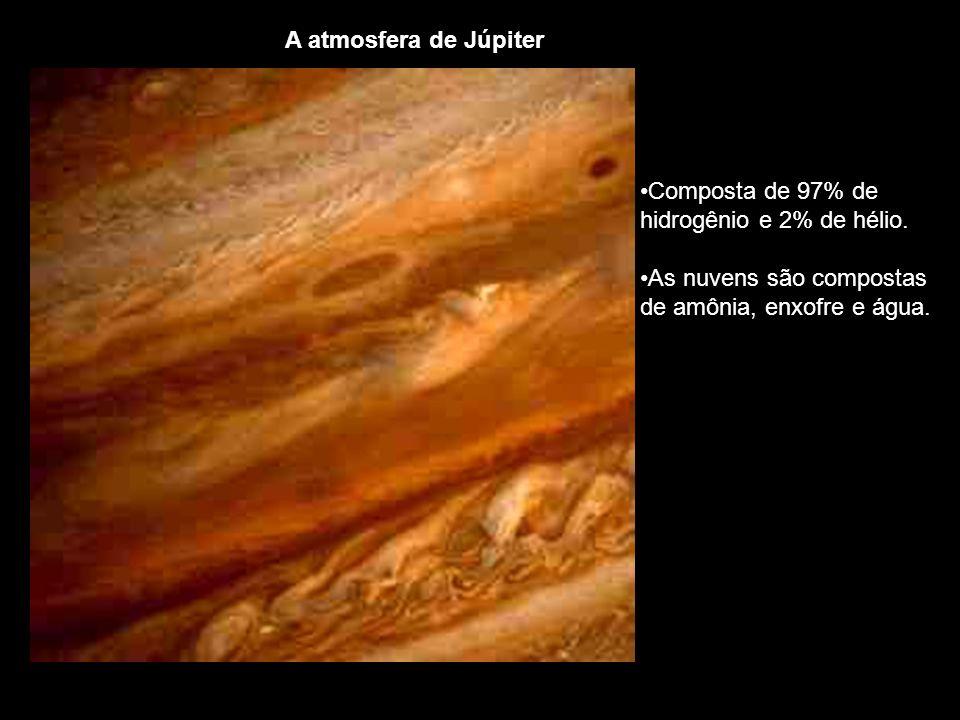 Composta de 97% de hidrogênio e 2% de hélio. As nuvens são compostas de amônia, enxofre e água.