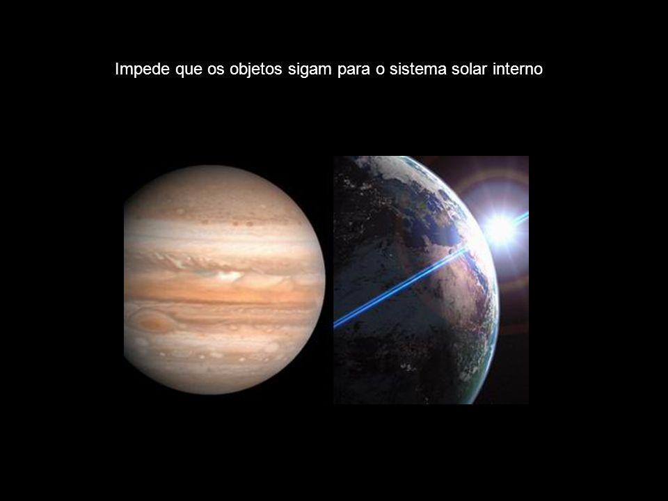 Impede que os objetos sigam para o sistema solar interno