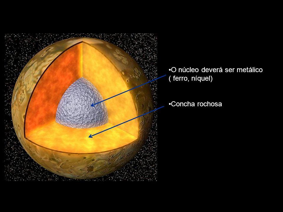 O núcleo deverá ser metálico ( ferro, níquel) Concha rochosa