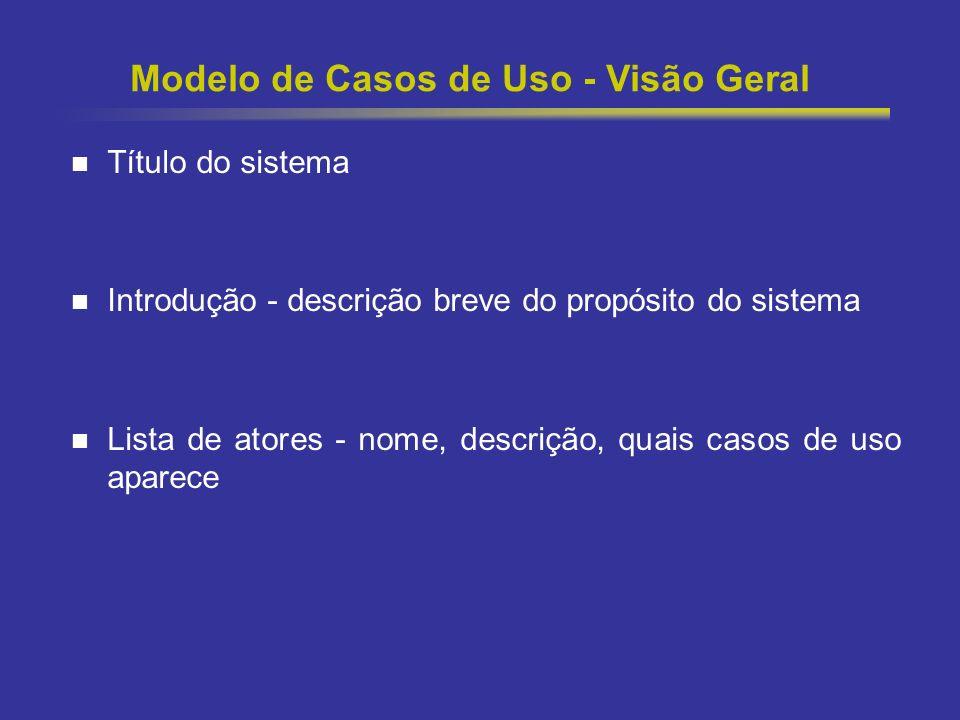 11 Modelo de Casos de Uso - Visão Geral Título do sistema Introdução - descrição breve do propósito do sistema Lista de atores - nome, descrição, quai