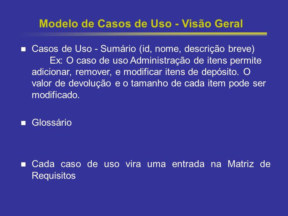 12 Modelo de Casos de Uso - Visão Geral Casos de Uso - Sumário (id, nome, descrição breve) Ex: O caso de uso Administração de itens permite adicionar,