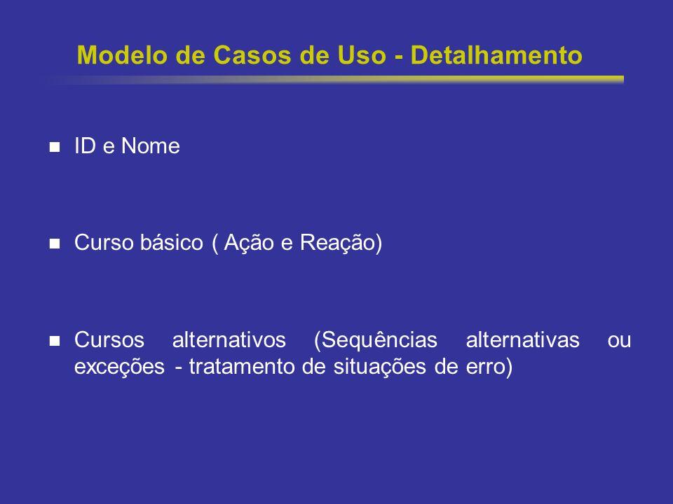 13 Modelo de Casos de Uso - Detalhamento ID e Nome Curso básico ( Ação e Reação) Cursos alternativos (Sequências alternativas ou exceções - tratamento