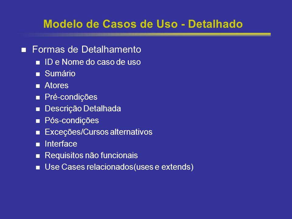 15 Modelo de Casos de Uso - Detalhado Formas de Detalhamento ID e Nome do caso de uso Sumário Atores Pré-condições Descrição Detalhada Pós-condições E