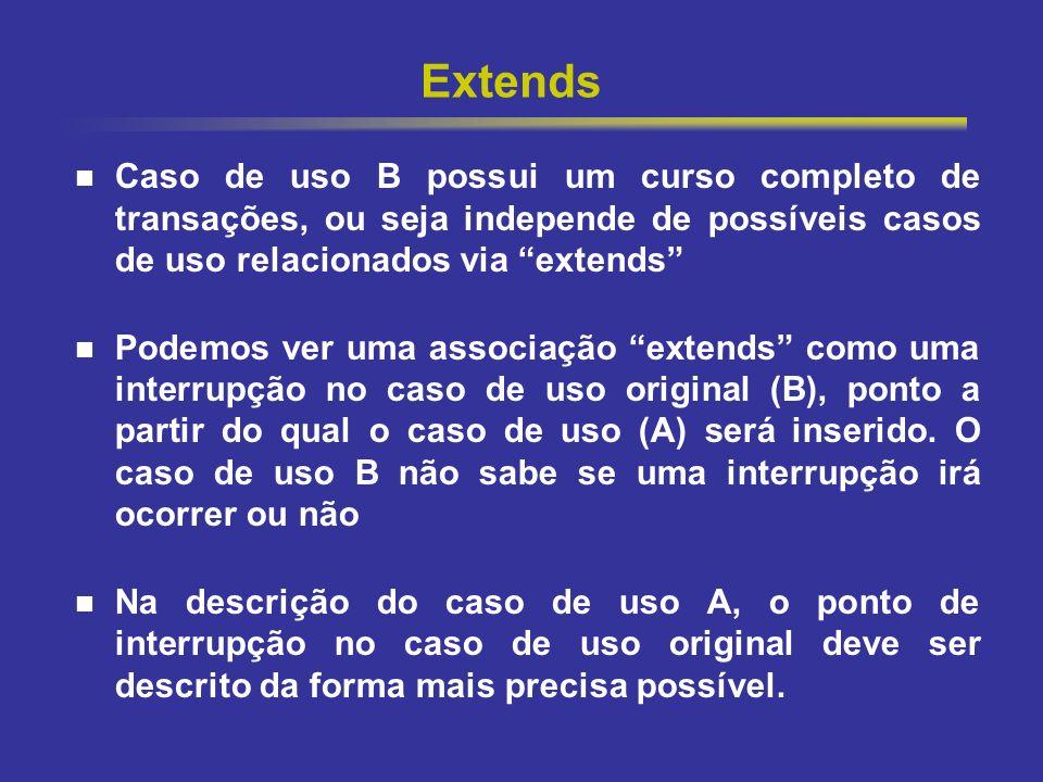 18 Extends Caso de uso B possui um curso completo de transações, ou seja independe de possíveis casos de uso relacionados via extends Podemos ver uma