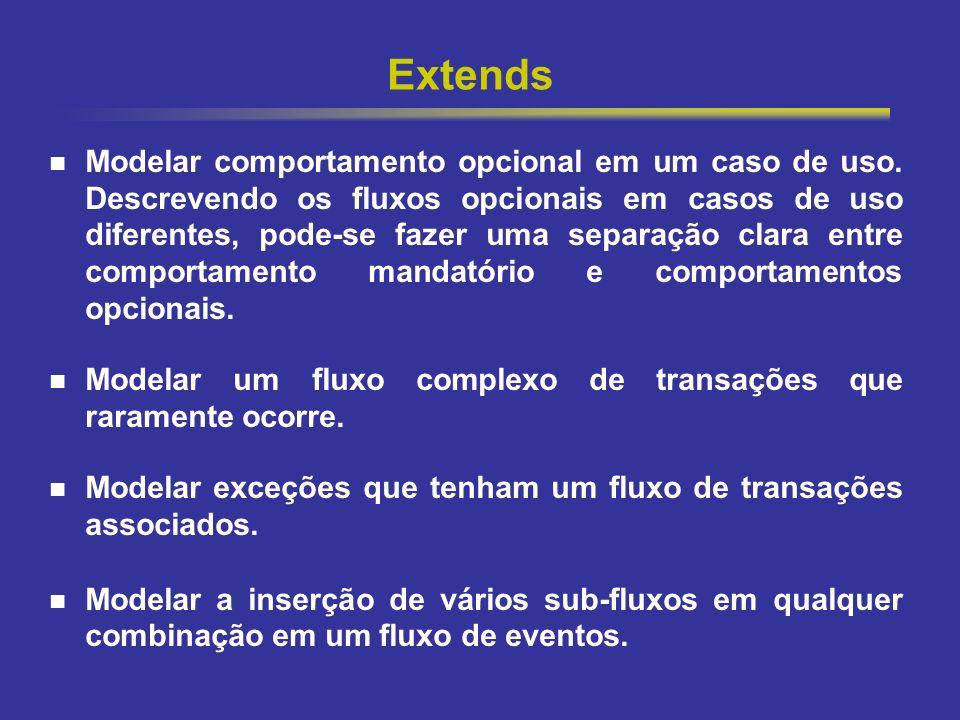 20 Extends Modelar comportamento opcional em um caso de uso. Descrevendo os fluxos opcionais em casos de uso diferentes, pode-se fazer uma separação c
