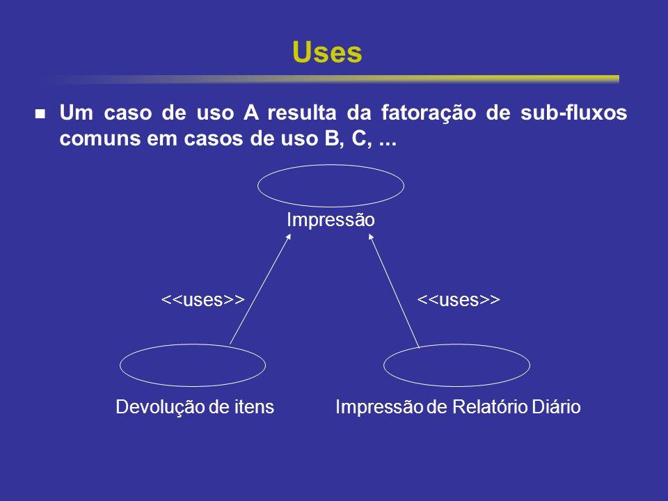 22 Uses Um caso de uso A resulta da fatoração de sub-fluxos comuns em casos de uso B, C,... Impressão > > Devolução de itens Impressão de Relatório Di