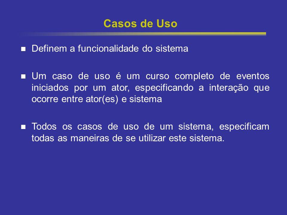 8 Casos de Uso Definem a funcionalidade do sistema Um caso de uso é um curso completo de eventos iniciados por um ator, especificando a interação que