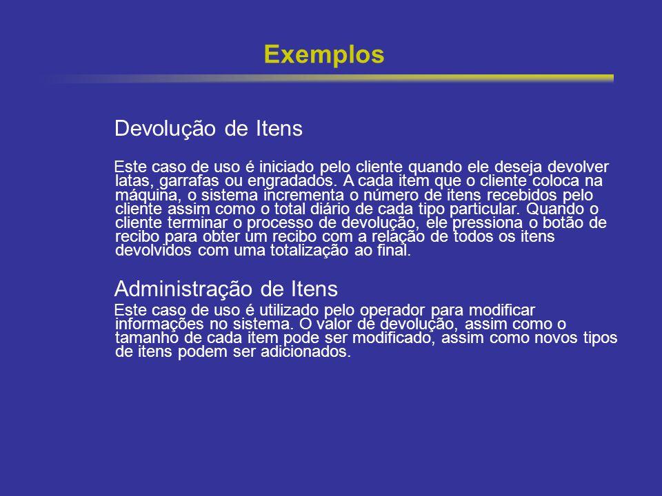 9 Exemplos Devolução de Itens Este caso de uso é iniciado pelo cliente quando ele deseja devolver latas, garrafas ou engradados. A cada item que o cli
