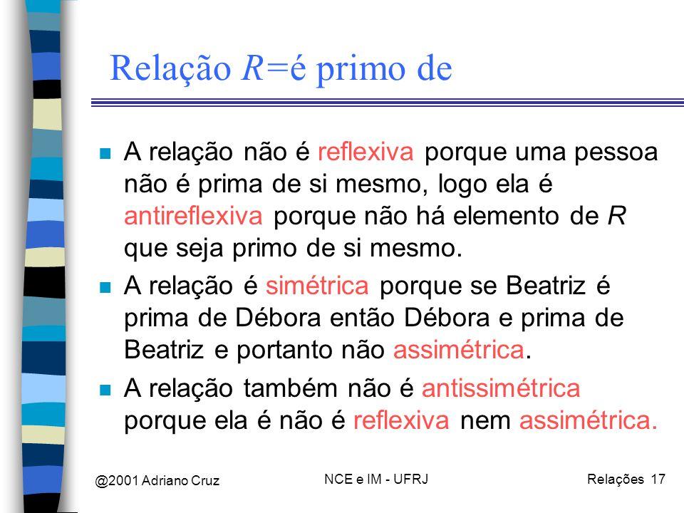 @2001 Adriano Cruz NCE e IM - UFRJRelações 17 Relação R=é primo de n A relação não é reflexiva porque uma pessoa não é prima de si mesmo, logo ela é antireflexiva porque não há elemento de R que seja primo de si mesmo.