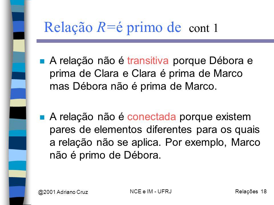 @2001 Adriano Cruz NCE e IM - UFRJRelações 18 Relação R=é primo de cont 1 n A relação não é transitiva porque Débora e prima de Clara e Clara é prima de Marco mas Débora não é prima de Marco.
