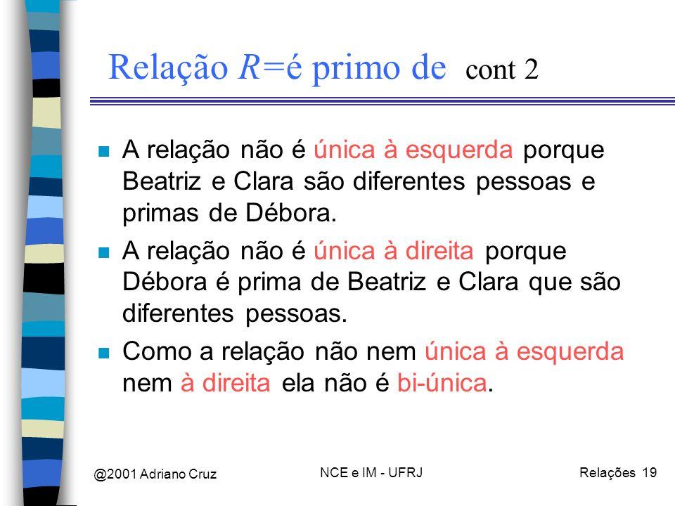 @2001 Adriano Cruz NCE e IM - UFRJRelações 19 Relação R=é primo de cont 2 n A relação não é única à esquerda porque Beatriz e Clara são diferentes pessoas e primas de Débora.