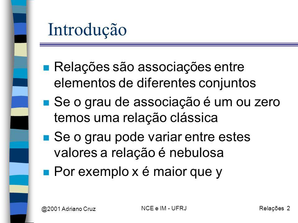 @2001 Adriano Cruz NCE e IM - UFRJRelações 2 Introdução n Relações são associações entre elementos de diferentes conjuntos n Se o grau de associação é