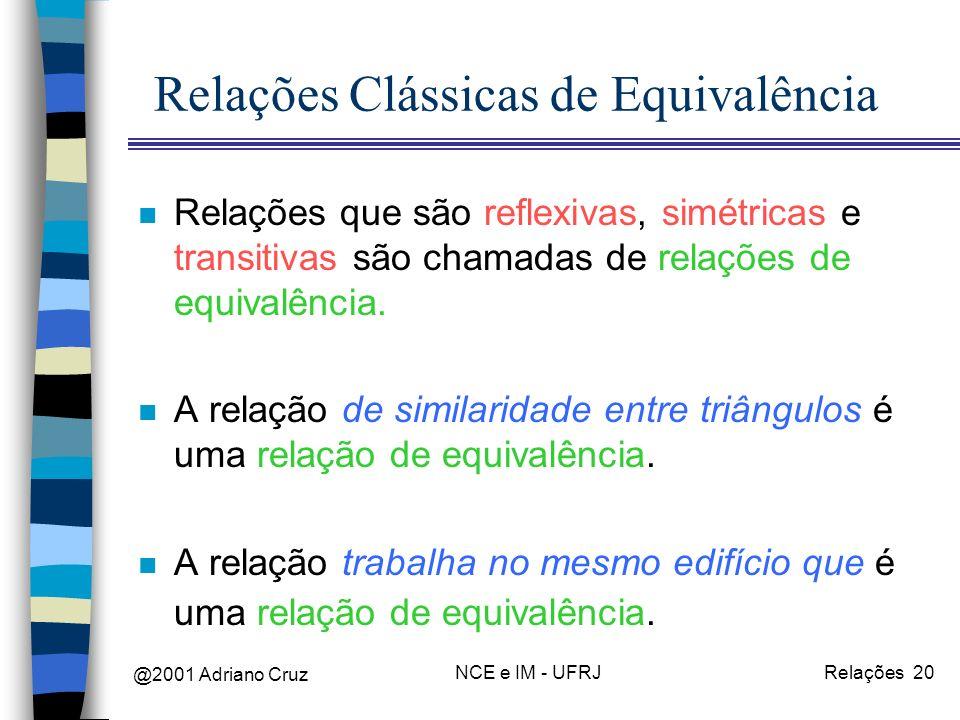 @2001 Adriano Cruz NCE e IM - UFRJRelações 20 Relações Clássicas de Equivalência n Relações que são reflexivas, simétricas e transitivas são chamadas de relações de equivalência.