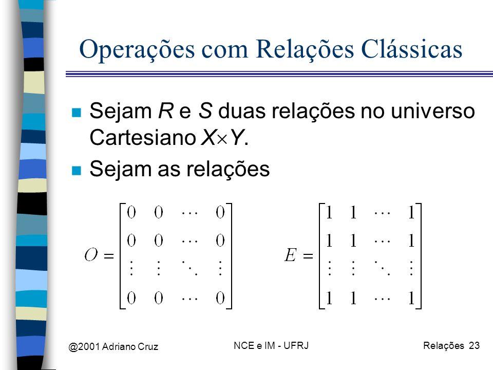 @2001 Adriano Cruz NCE e IM - UFRJRelações 23 Operações com Relações Clássicas n Sejam R e S duas relações no universo Cartesiano X Y. n Sejam as rela