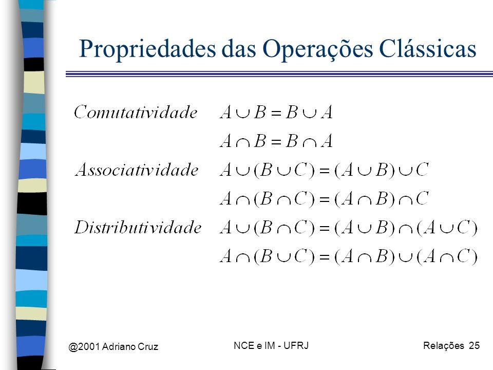 @2001 Adriano Cruz NCE e IM - UFRJRelações 25 Propriedades das Operações Clássicas