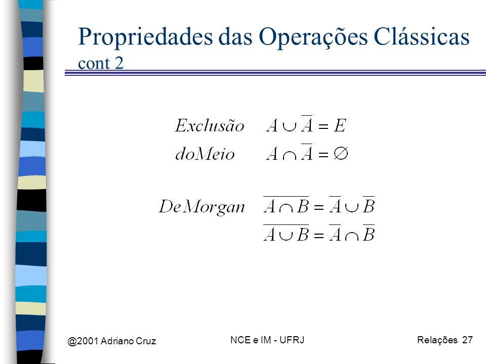 @2001 Adriano Cruz NCE e IM - UFRJRelações 27 Propriedades das Operações Clássicas cont 2