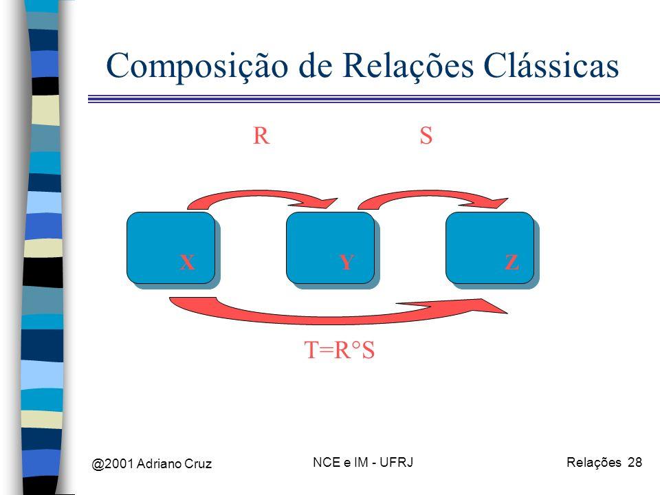 @2001 Adriano Cruz NCE e IM - UFRJRelações 28 Composição de Relações Clássicas XYZ RS T=R°S