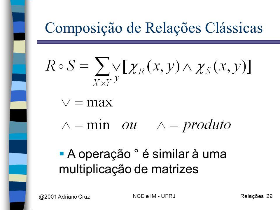 @2001 Adriano Cruz NCE e IM - UFRJRelações 29 Composição de Relações Clássicas A operação ° é similar à uma multiplicação de matrizes