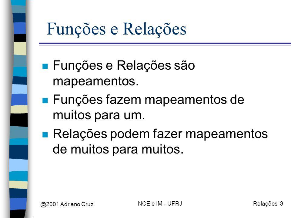 @2001 Adriano Cruz NCE e IM - UFRJRelações 3 Funções e Relações n Funções e Relações são mapeamentos. n Funções fazem mapeamentos de muitos para um. n