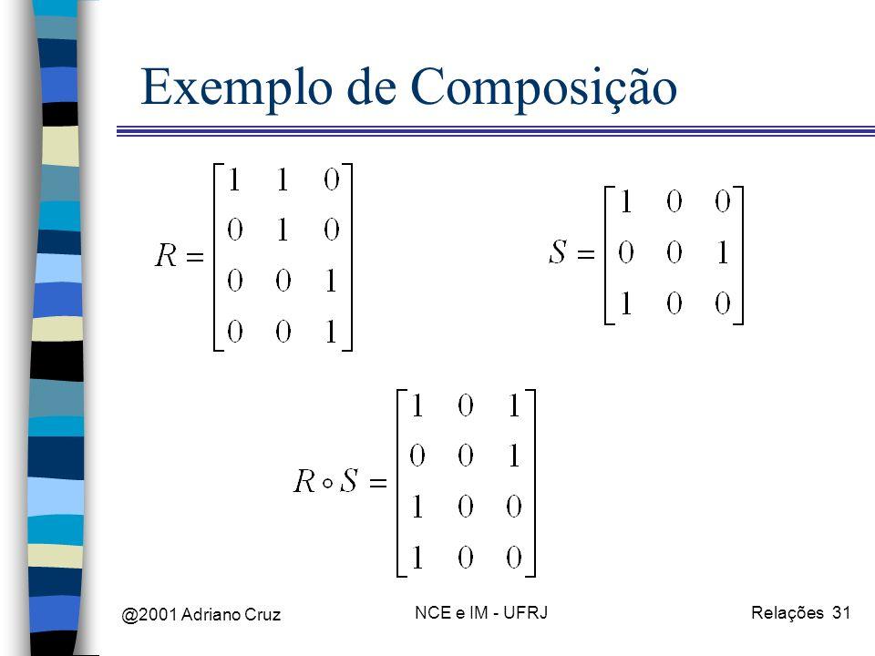 @2001 Adriano Cruz NCE e IM - UFRJRelações 31 Exemplo de Composição