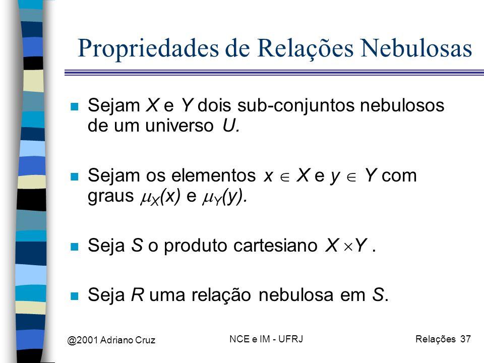 @2001 Adriano Cruz NCE e IM - UFRJRelações 37 Propriedades de Relações Nebulosas n Sejam X e Y dois sub-conjuntos nebulosos de um universo U.