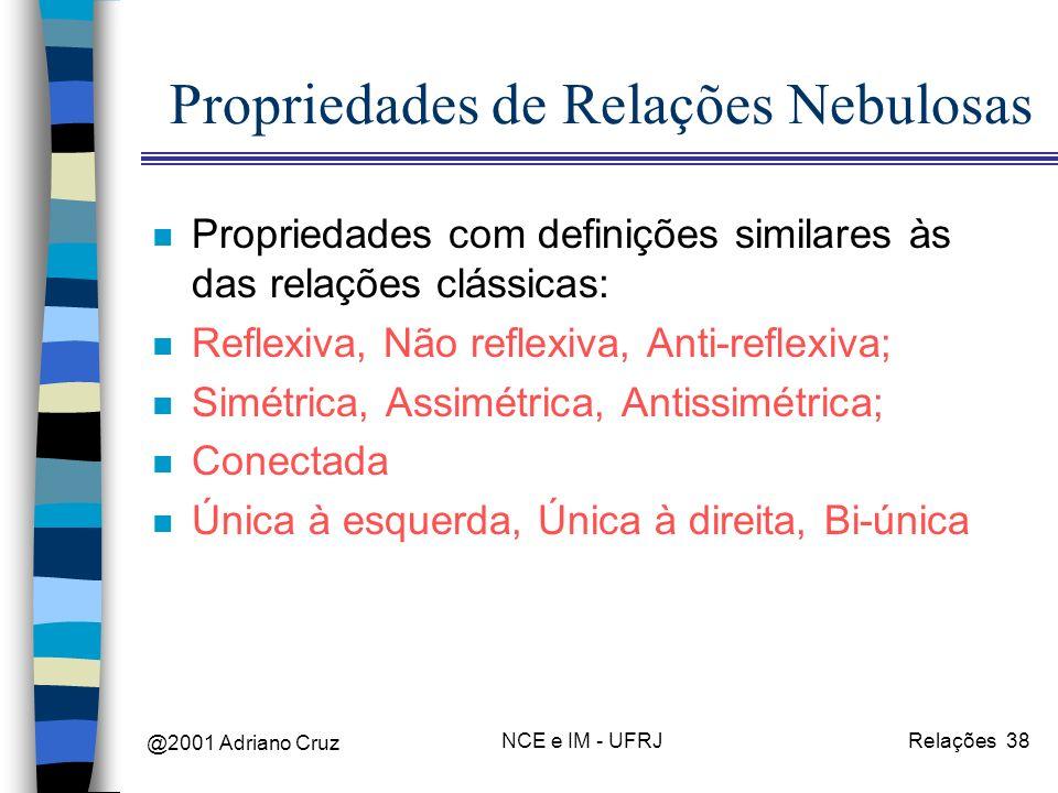 @2001 Adriano Cruz NCE e IM - UFRJRelações 38 Propriedades de Relações Nebulosas n Propriedades com definições similares às das relações clássicas: n Reflexiva, Não reflexiva, Anti-reflexiva; n Simétrica, Assimétrica, Antissimétrica; n Conectada n Única à esquerda, Única à direita, Bi-única