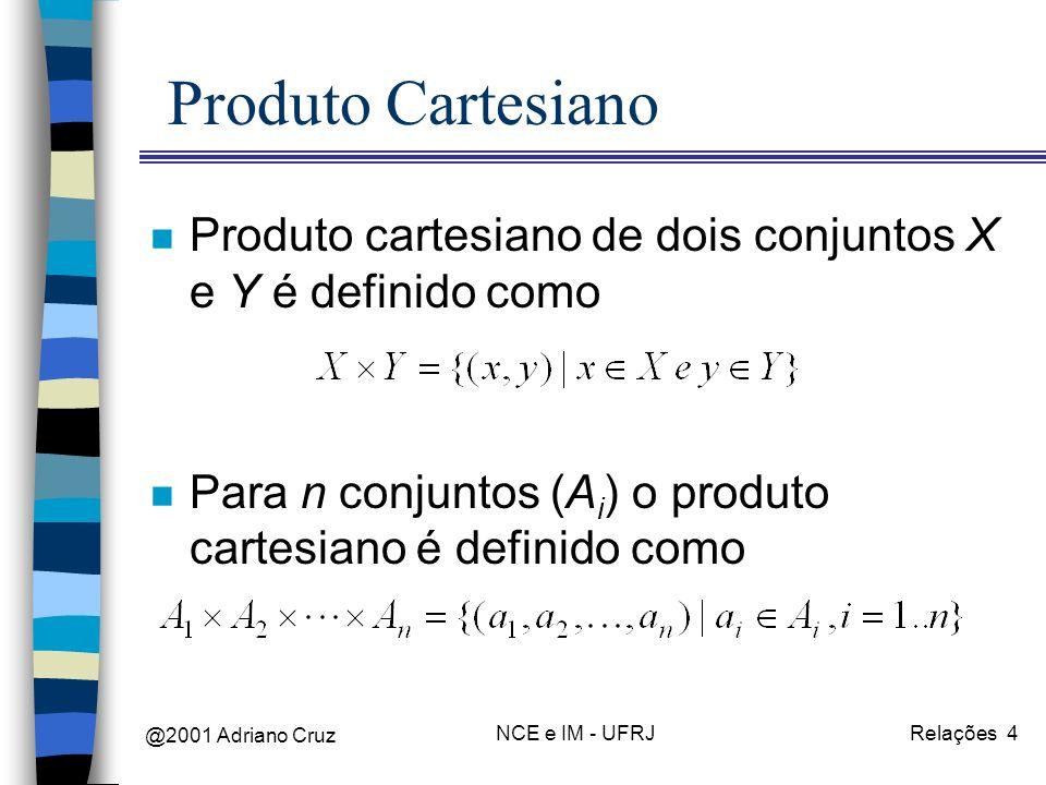 @2001 Adriano Cruz NCE e IM - UFRJRelações 4 Produto Cartesiano n Produto cartesiano de dois conjuntos X e Y é definido como n Para n conjuntos (A i ) o produto cartesiano é definido como
