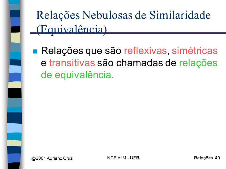 @2001 Adriano Cruz NCE e IM - UFRJRelações 40 Relações Nebulosas de Similaridade (Equivalência) n Relações que são reflexivas, simétricas e transitivas são chamadas de relações de equivalência.