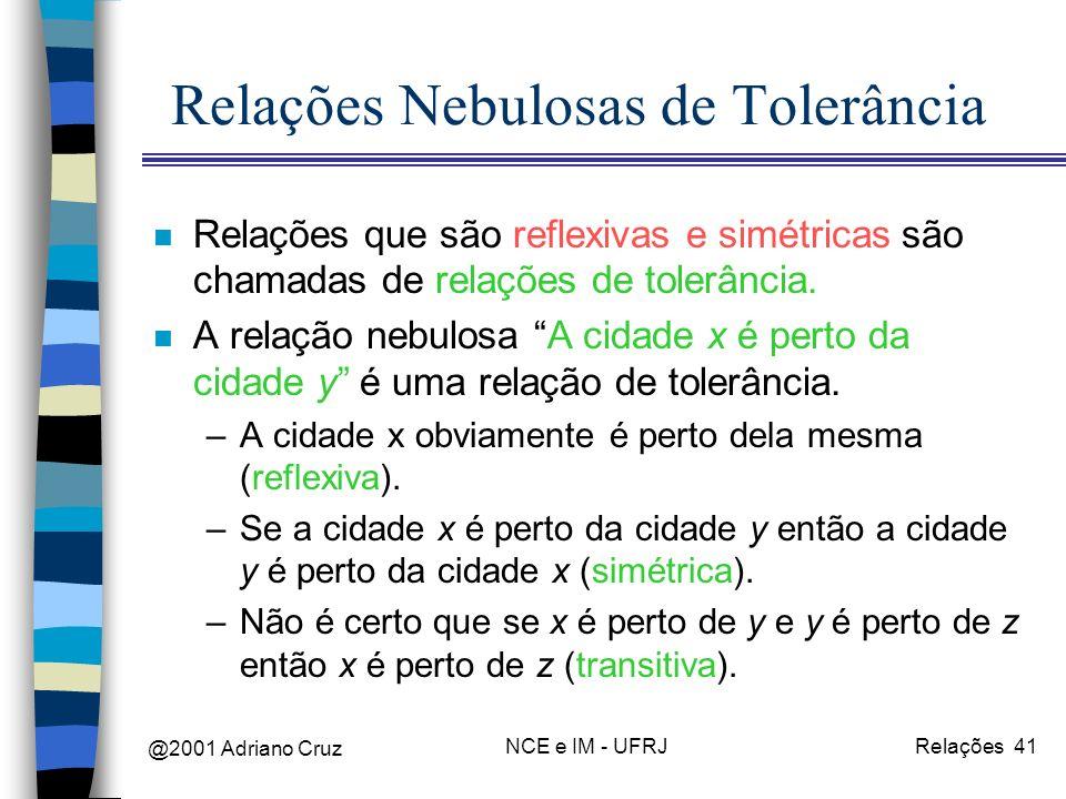 @2001 Adriano Cruz NCE e IM - UFRJRelações 41 Relações Nebulosas de Tolerância n Relações que são reflexivas e simétricas são chamadas de relações de tolerância.